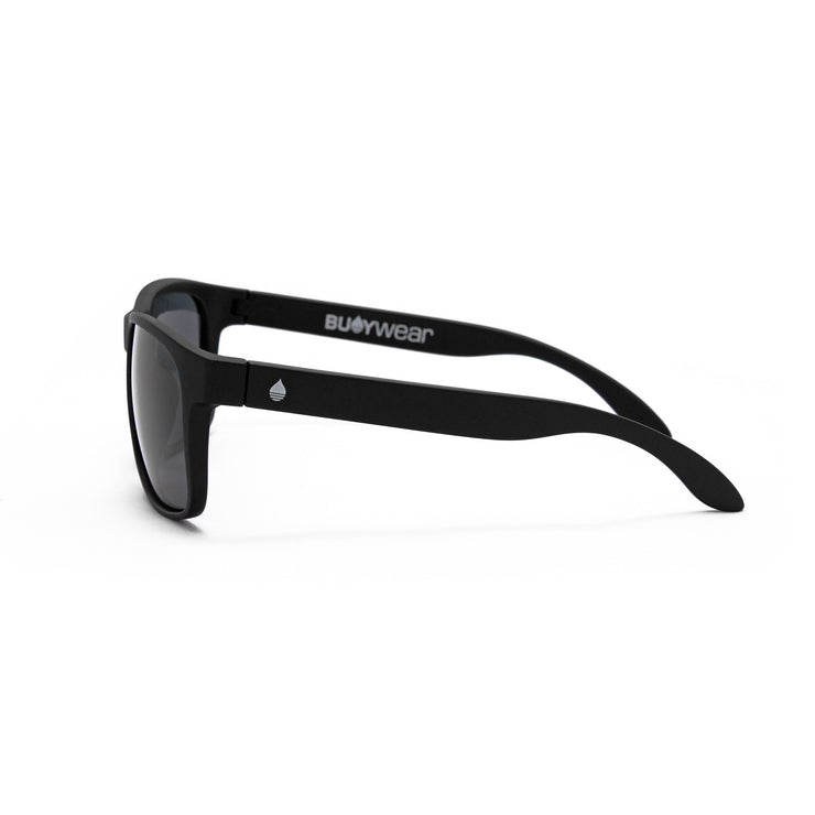 Black Matte Polarized Floating Sunglasses Smoke, Side - BUOY WEAR