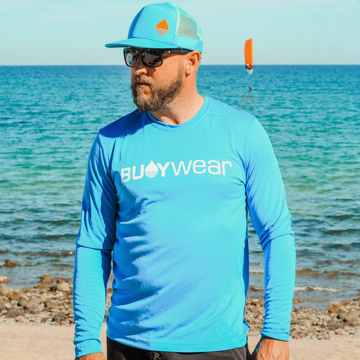 Blue High Performance Long Sleeve Rash Guard by BUOY WEAR