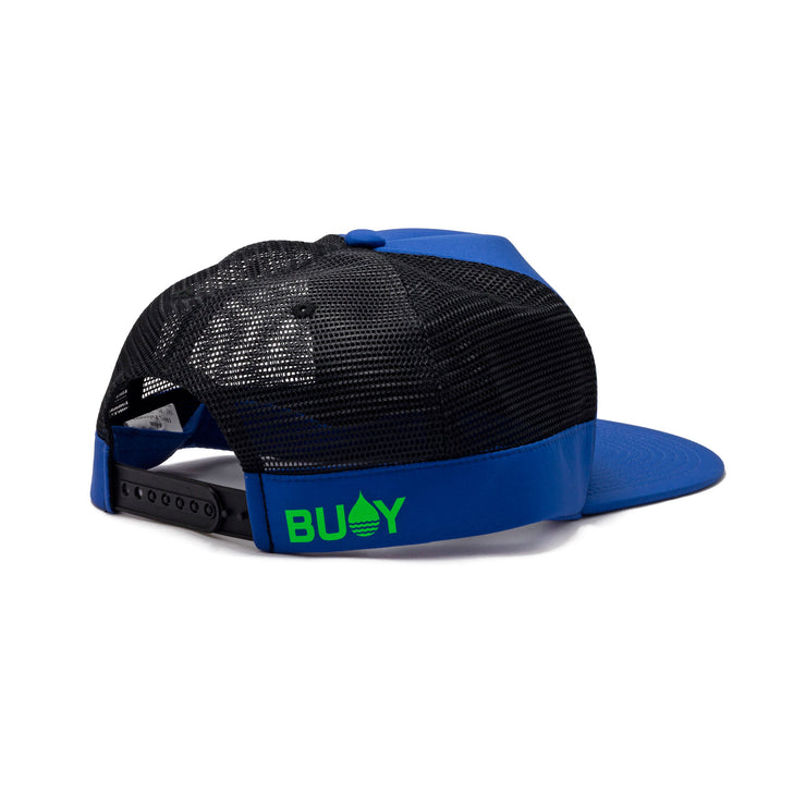 BUOY WEAR's cobalt blue floating, waterproof trucker hat with snapback, back side.