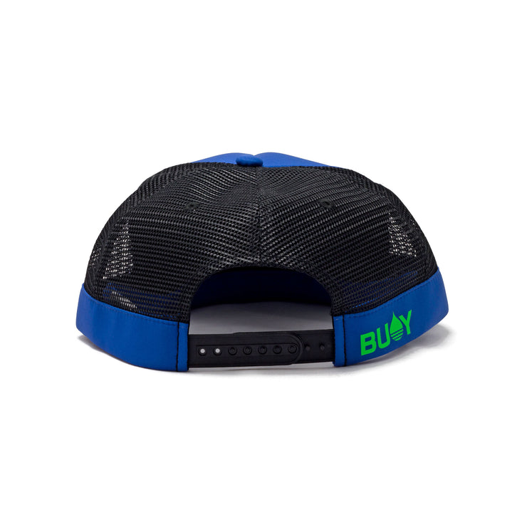 BUOY WEAR's cobalt blue floating, waterproof trucker hat with snapback, back.