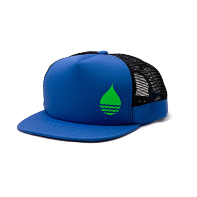 BUOY WEAR's cobalt blue floating, waterproof trucker hat with snapback, front side.
