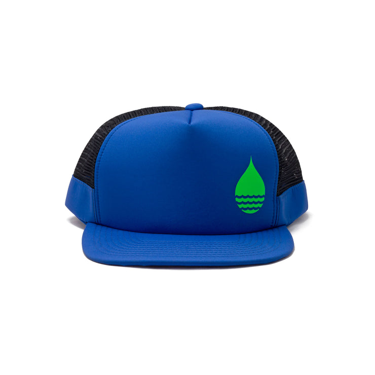 BUOY WEAR's cobalt blue floating, waterproof trucker hat with snapback, front.