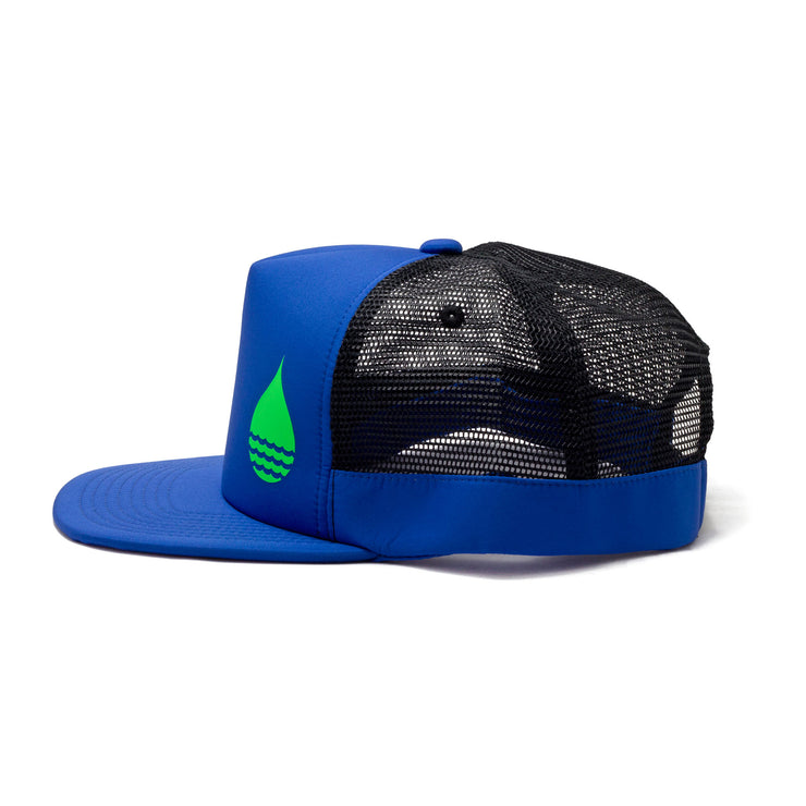 BUOY WEAR's cobalt blue floating, waterproof trucker hat with snapback, side.