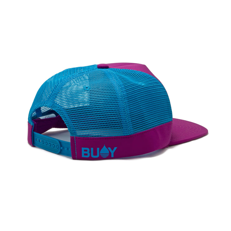 BUOY WEAR's dark magenta floating, waterproof trucker hat with snapback, back side.