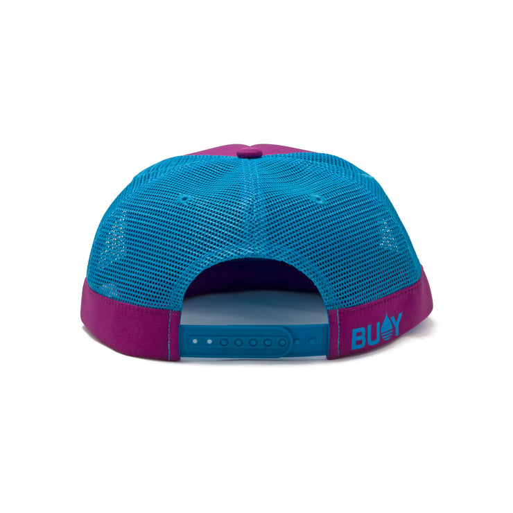 BUOY WEAR's dark magenta floating, waterproof trucker hat with snapback, back.