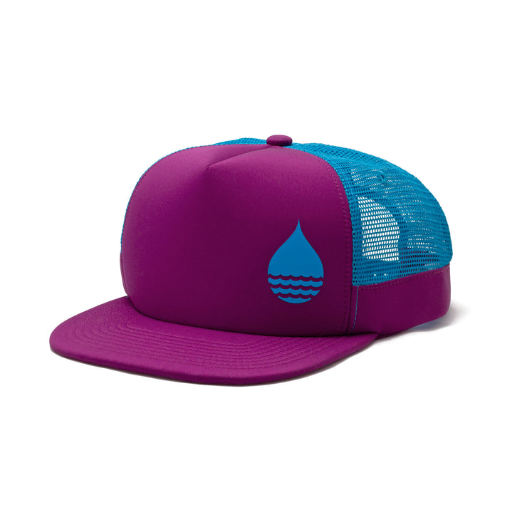 BUOY WEAR's dark magenta floating, waterproof trucker hat with snapback, front side.