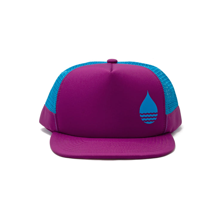 BUOY WEAR's dark magenta floating, waterproof trucker hat with snapback, front.