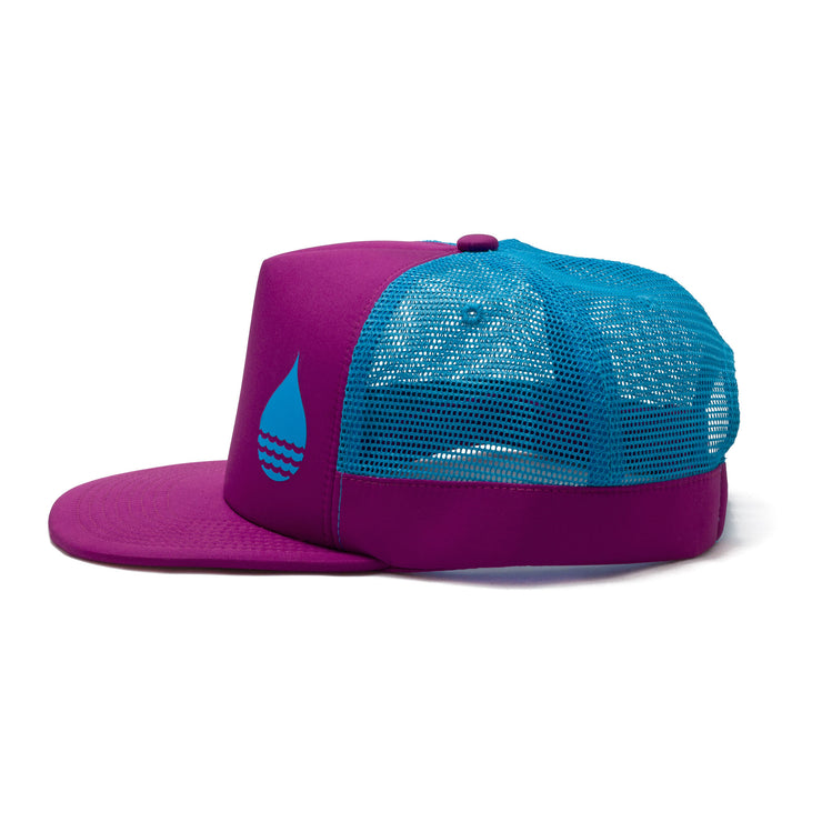 BUOY WEAR's dark magenta floating, waterproof trucker hat with snapback, side.