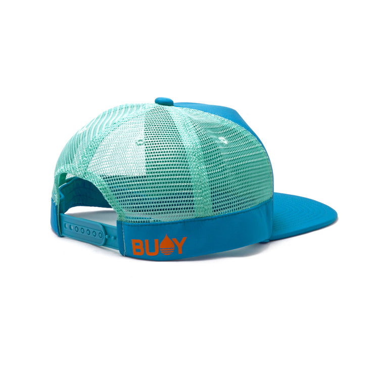 BUOY WEAR's ocean blue floating, waterproof trucker hat with snapback, back side.