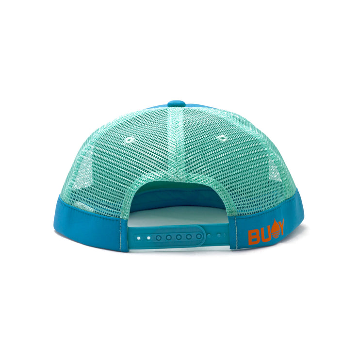 BUOY WEAR's ocean blue floating, waterproof trucker hat with snapback, back.