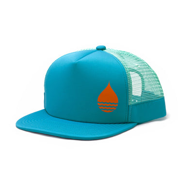BUOY WEAR's ocean blue floating, waterproof trucker hat with snapback, front side.
