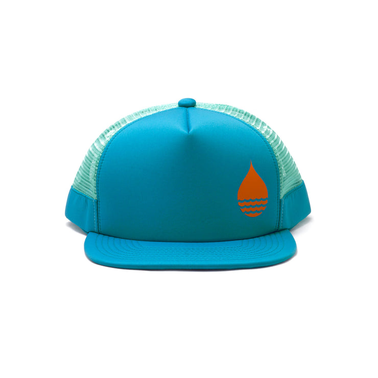 BUOY WEAR's ocean blue floating, waterproof trucker hat with snapback, front.