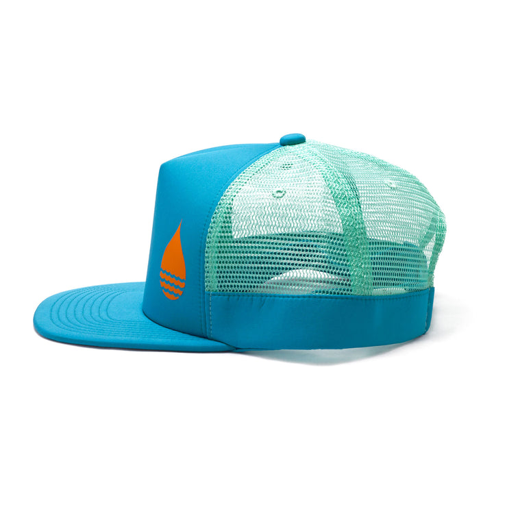 BUOY WEAR's ocean blue floating, waterproof trucker hat with snapback, side.