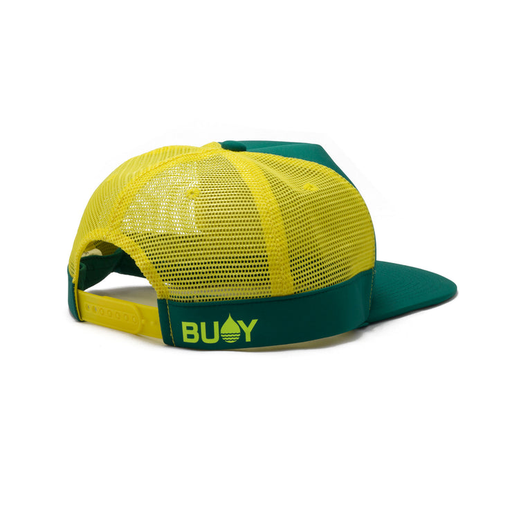 BUOY WEAR's seagreen floating, waterproof trucker hat with snapback, back side.