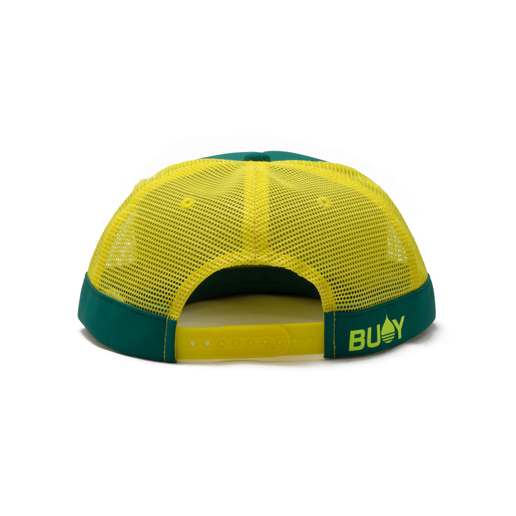 BUOY WEAR's seagreen floating, waterproof trucker hat with snapback, back.