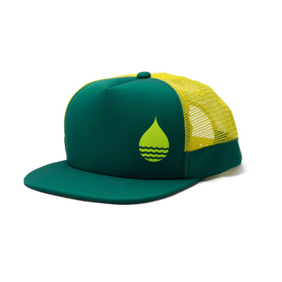 BUOY WEAR's seagreen floating, waterproof trucker hat with snapback, front side.