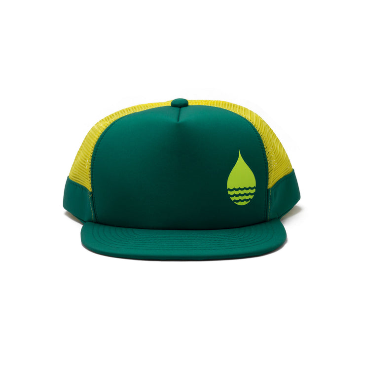 BUOY WEAR's seagreen floating, waterproof trucker hat with snapback, front.