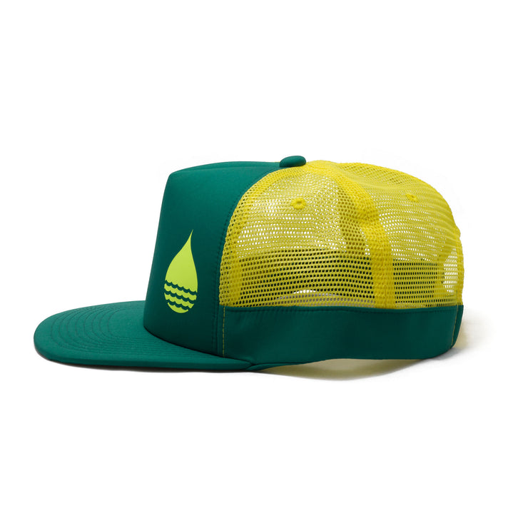 BUOY WEAR's seagreen floating, waterproof trucker hat with snapback, side.