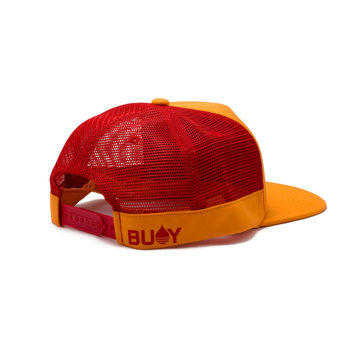 BUOY WEAR's tangerine floating, waterproof trucker hat with snapback, back side.