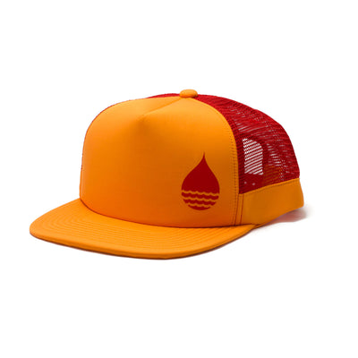 BUOY WEAR's tangerine floating, waterproof trucker hat with snapback, front side.