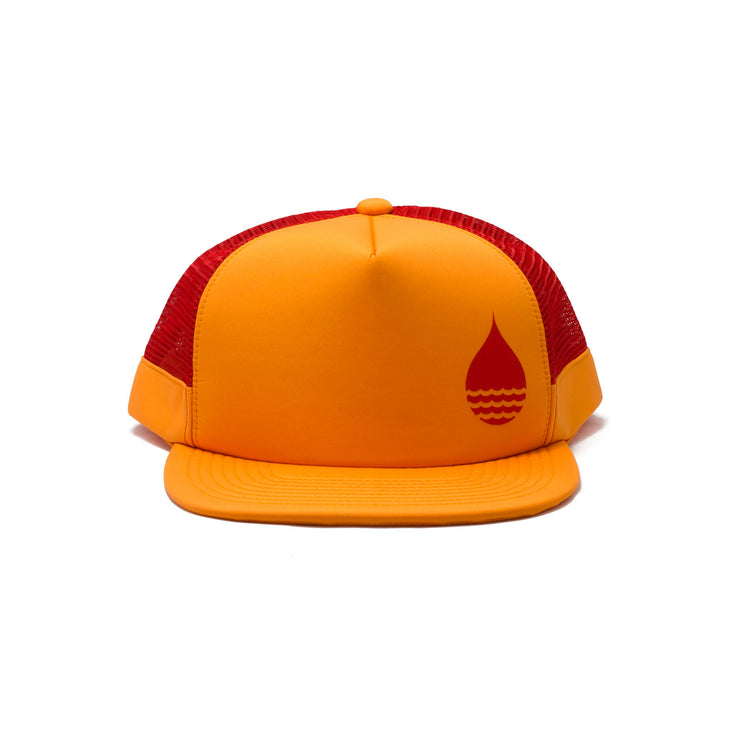 BUOY WEAR's tangerine floating, waterproof trucker hat with snapback, front.