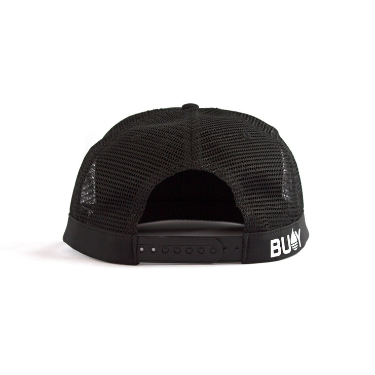Black Floating, Waterproof Trucker Hat with Snapback, Back - BUOY WEAR