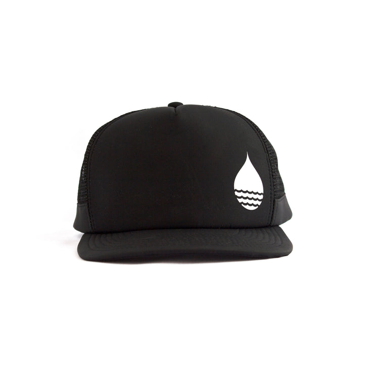 Black Floating, Waterproof Trucker Hat with Snapback, Front - BUOY WEAR