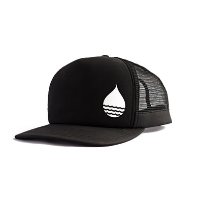 Black Floating, Waterproof Trucker Hat with Snapback, Front Side - BUOY WEAR