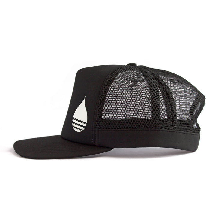 Black Floating, Waterproof Trucker Hat with Snapback, Side - BUOY WEAR