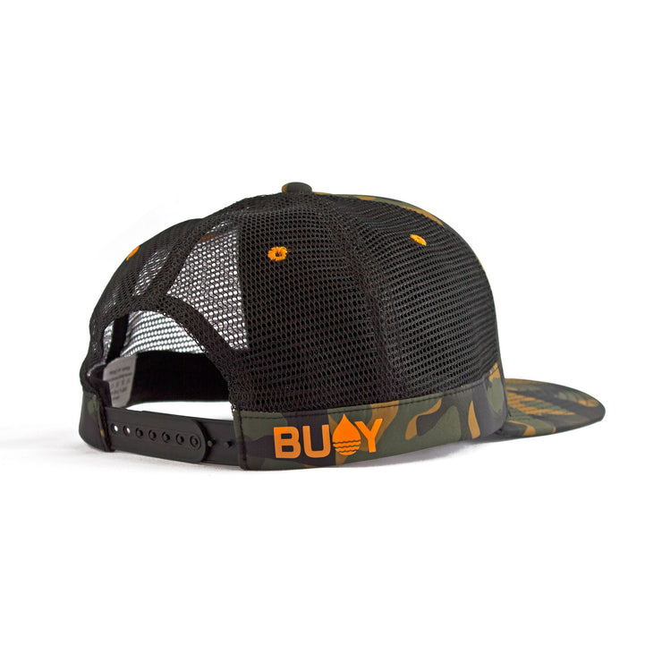 Camo Floating, Waterproof Trucker Hat with Snapback, Back Side - BUOY WEAR