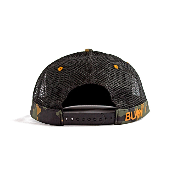 Camo Floating, Waterproof Trucker Hat with Snapback, Back - BUOY WEAR
