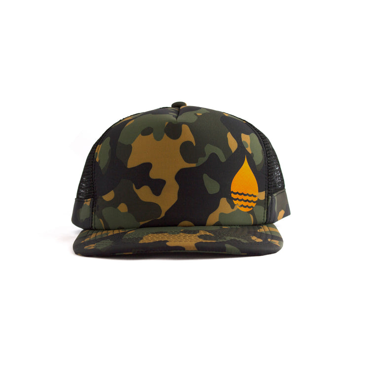 Camo Floating, Waterproof Trucker Hat with Snapback, Front - BUOY WEAR