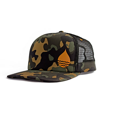 Camo Floating, Waterproof Trucker Hat with Snapback, Front Side - BUOY WEAR
