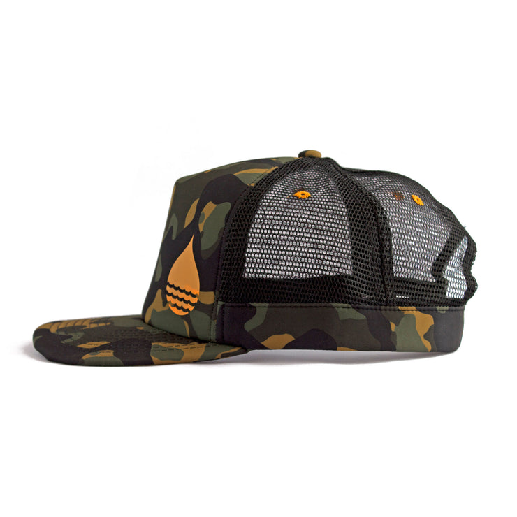 Camo Floating, Waterproof Trucker Hat with Snapback, Side - BUOY WEAR