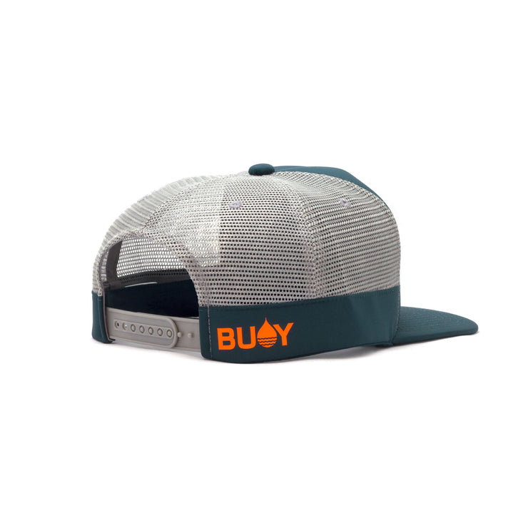 Dark Teal Limited Edition Floating, Waterproof Trucker Hat with Snapback, Back Side - BUOY WEAR