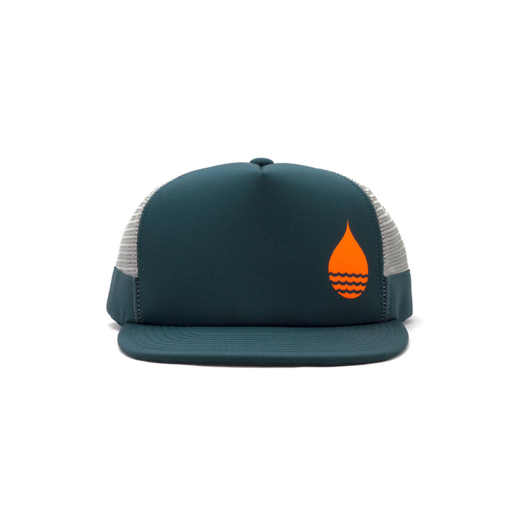 Dark Teal Limited Edition Floating, Waterproof Trucker Hat with Snapback, Front - BUOY WEAR