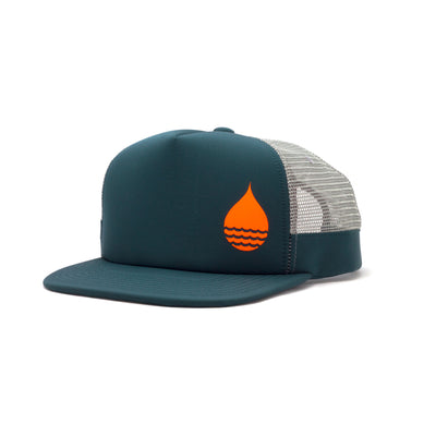 Dark Teal Limited Edition Floating, Waterproof Trucker Hat with Snapback, Front Side - BUOY WEAR