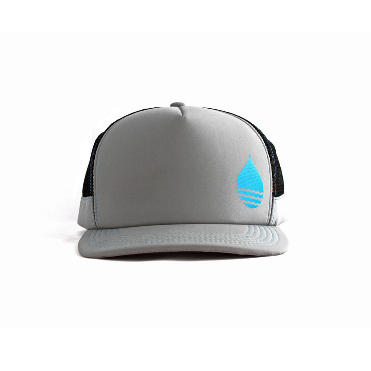 Gray Floating, Waterproof Trucker Hat with Snapback, Front - BUOY WEAR