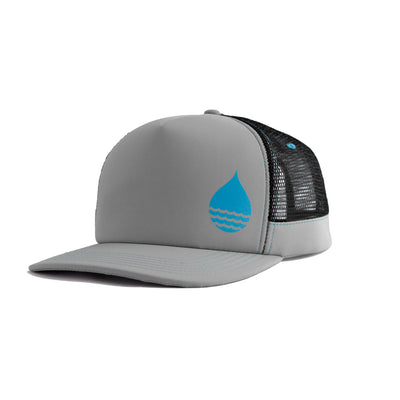 Gray Floating, Waterproof Trucker Hat with Snapback, Front Side - BUOY WEAR