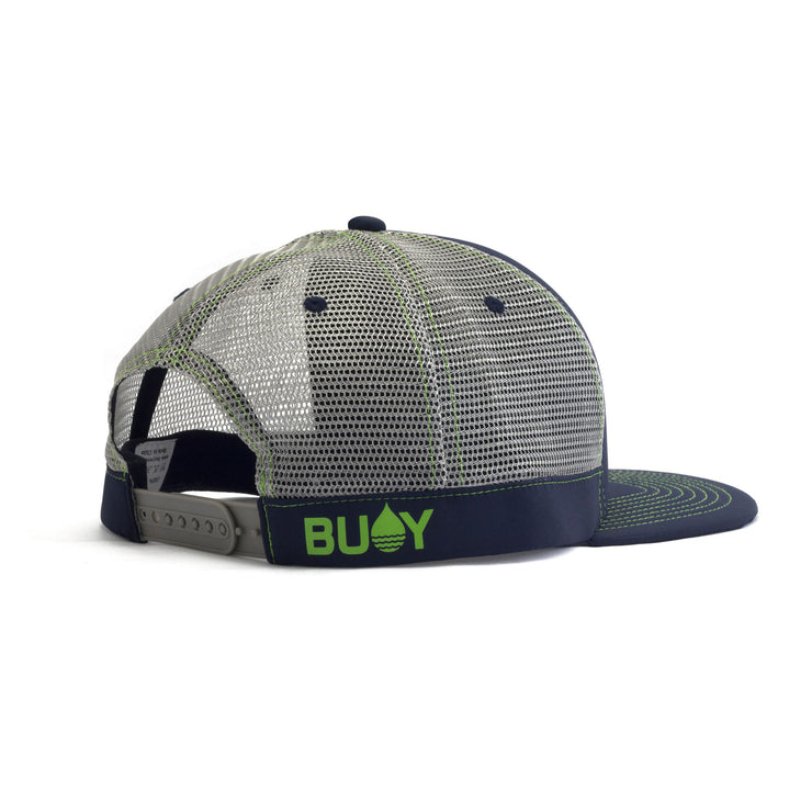 Navy Limited Edition Floating, Waterproof Trucker Hat with Snapback, Back Side - BUOY WEAR