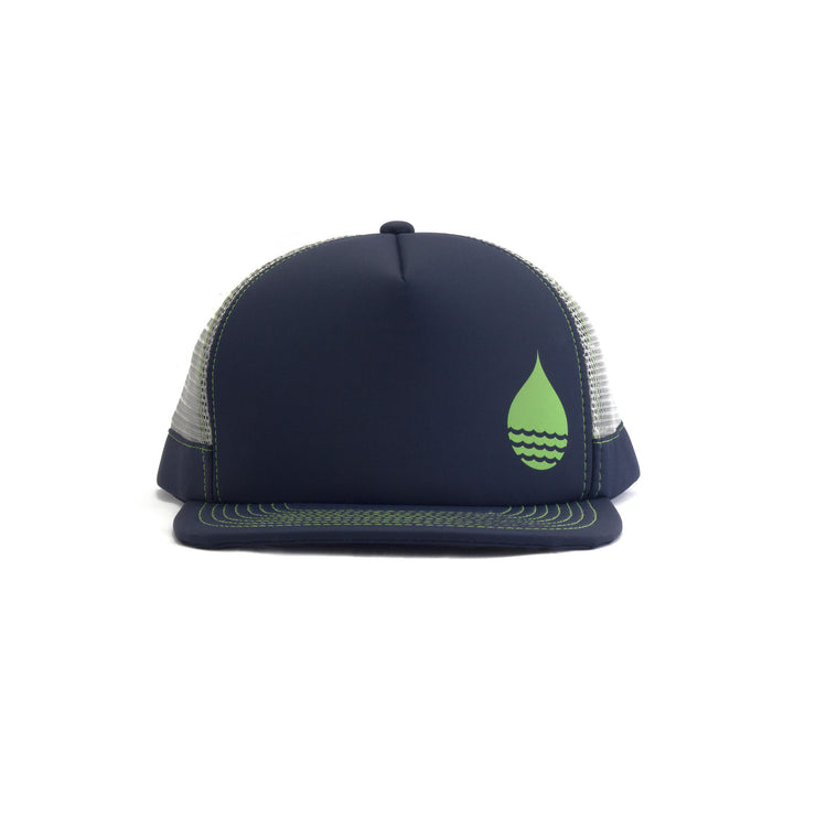 Navy Limited Edition Floating, Waterproof Trucker Hat with Snapback, Front - BUOY WEAR