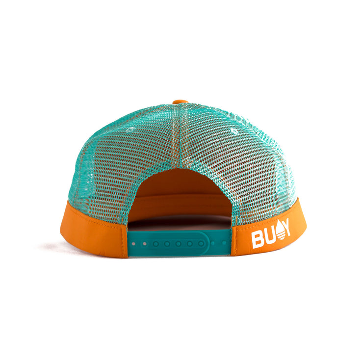 Orange Floating, Waterproof Trucker Hat with Snapback, Back - BUOY WEAR