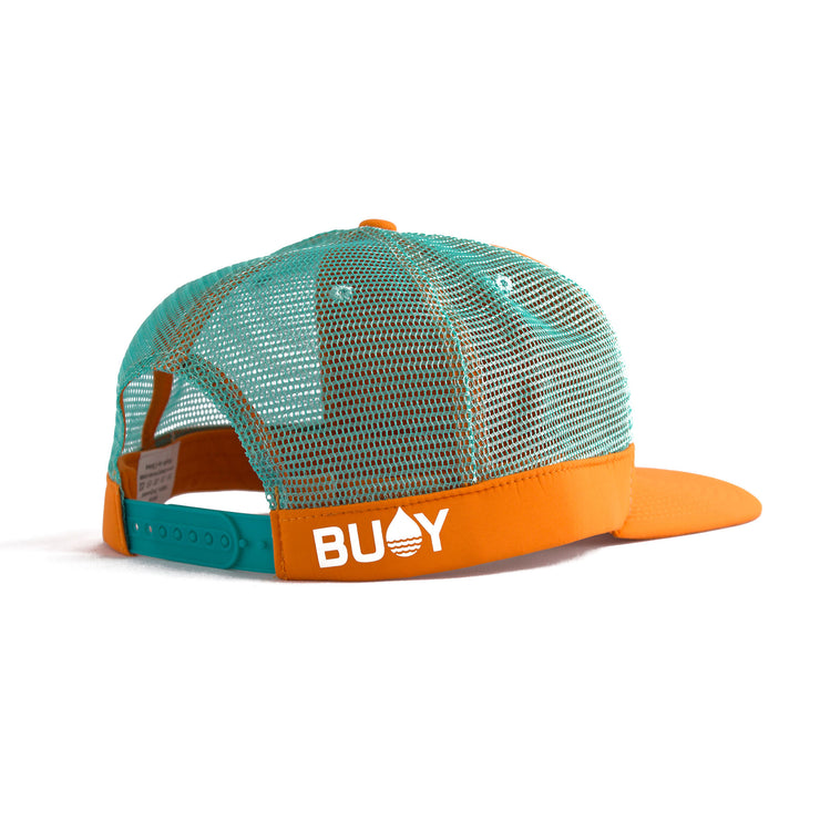 Orange Floating, Waterproof Trucker Hat with Snapback, Back Side - BUOY WEAR