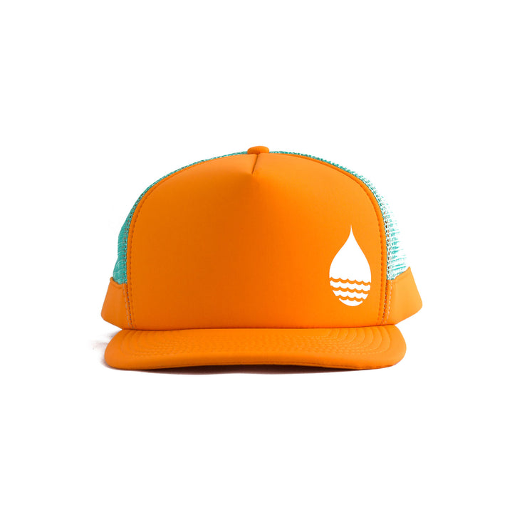 Orange Floating, Waterproof Trucker Hat with Snapback, Front - BUOY WEAR