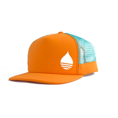 Orange Floating, Waterproof Trucker Hat with Snapback, Front Side - BUOY WEAR