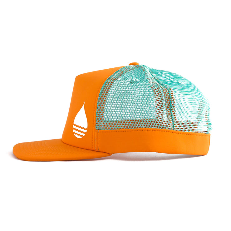 Orange Floating, Waterproof Trucker Hat with Snapback, Side - BUOY WEAR