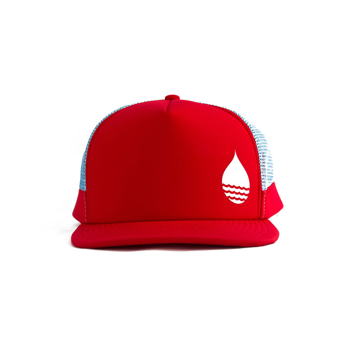 Red Floating, Waterproof Trucker Hat with Snapback, Front - BUOY WEAR