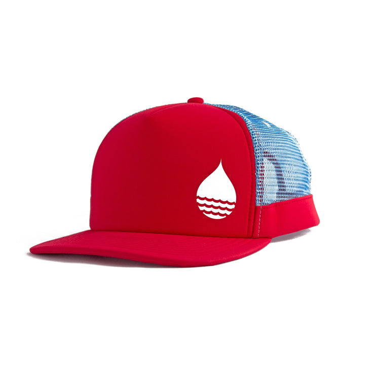Red Floating, Waterproof Trucker Hat with Snapback, Front Side - BUOY WEAR