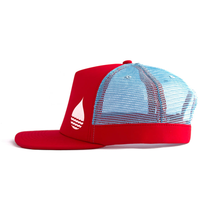 Red Floating, Waterproof Trucker Hat with Snapback, Side - BUOY WEAR