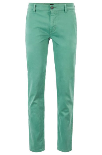 Slim-fit casual chinos in brushed stretch cotton - Green